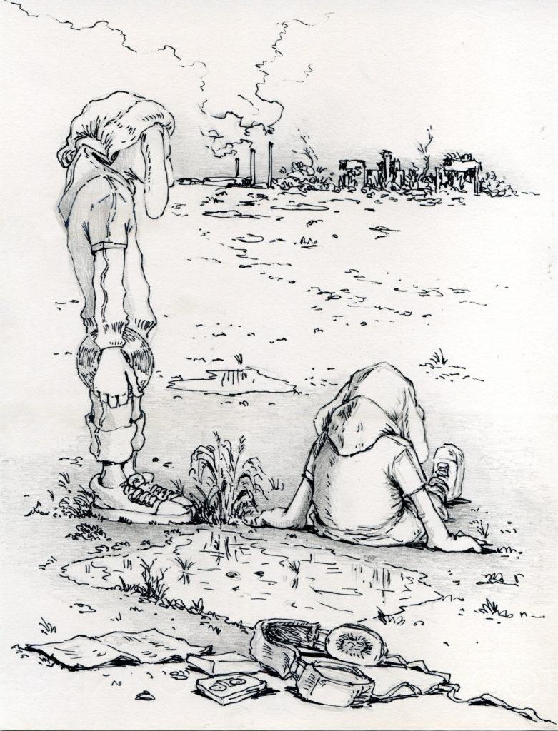 """Botto e Bruno // Questo disegno parla dell'attesa, dell'osservazione della città malata non più abitabile, dove i due personaggi aspettano circondati dalla musica che diventa elemento di sopravvivenza. // Da """"The kids"""" // Courtesy of Botto e Bruno"""