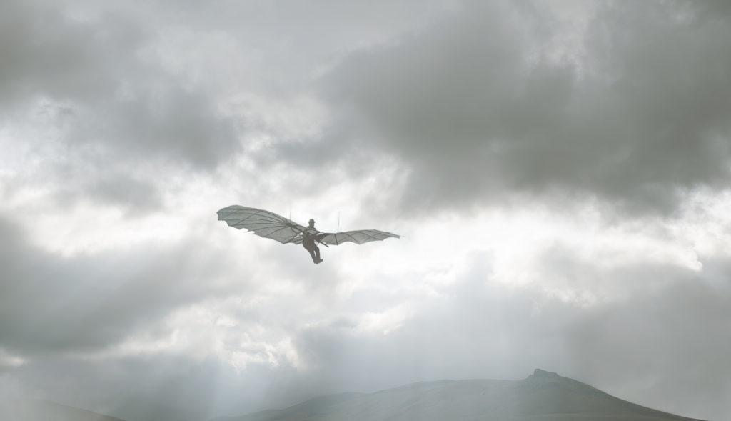 """IL VOLO // Silvia Camporesi // """"Inventare un aereo è nulla. Costruirne uno è qualcosa. Volare è tutto"""" (Otto Lilienthal) // Otto Lilienthal, 2018. Inkjet print, dimensioni varie // Courtesy of Silvia Camporesi e Z2o Sara Zanin Gallery"""