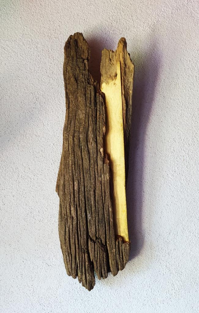 """ADATTAMENTO // Mattia Bosco // """"Solo col tempo si conquista il tempo"""" (Thomas Stearns Eliot) // Aprile 2020, legno di castagno con foglia d'oro, 51,5 x 15,5 x 7 // Courtesy of Mattia Bosco"""